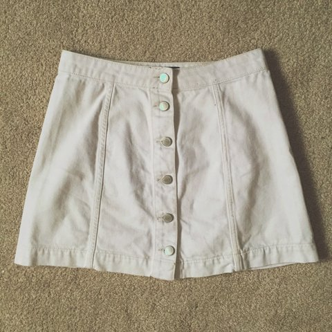 b4da963c0c @kaceypeters. 3 years ago. Leigh, UK. Topshop petite white denim button up  skirt.