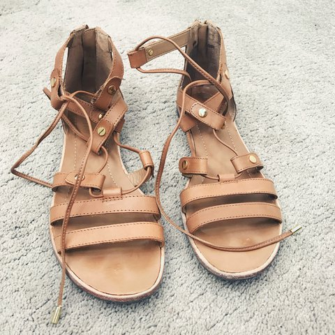 1665337e8d9 Franco Sarto Tan Leather Gladiator Sandals Tie Up Lace With - Depop