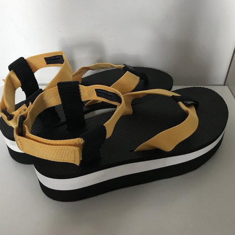 87635ed4f8d Yellow and black Teva Flatform sandals Great condition - 😎 - Depop