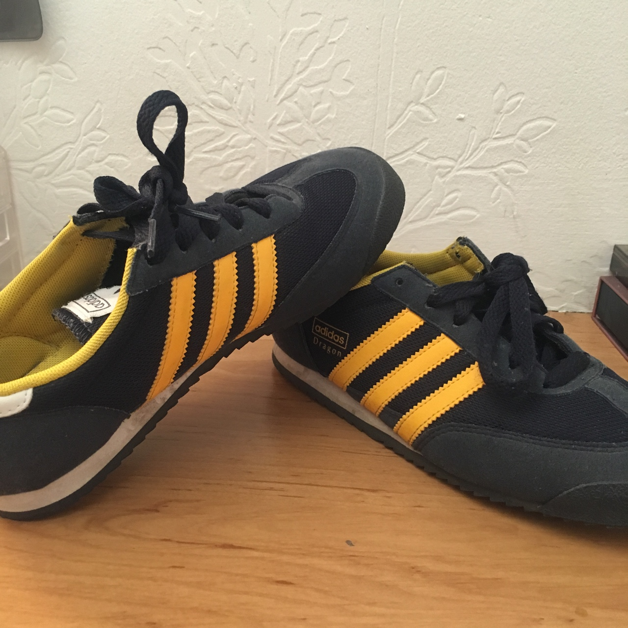 Adidas Dragon trainers navy and yellow. Size 4. Good...