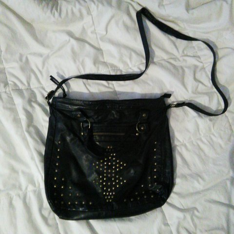 4078fd285acd Super cute black crossbody bag with gold studs! Holds lots - Depop