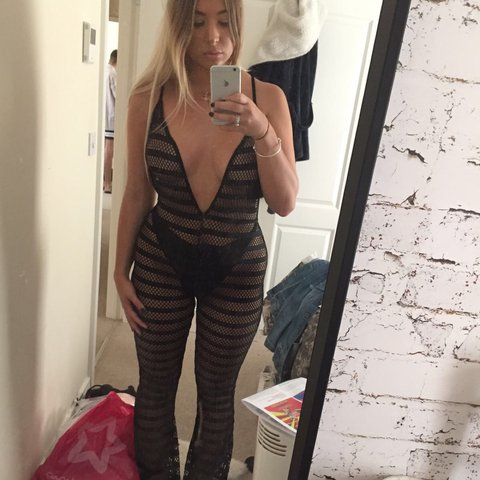 7d84496684 Does anyone want this fishnet flare mesh plunge jumpsuit I - - Depop