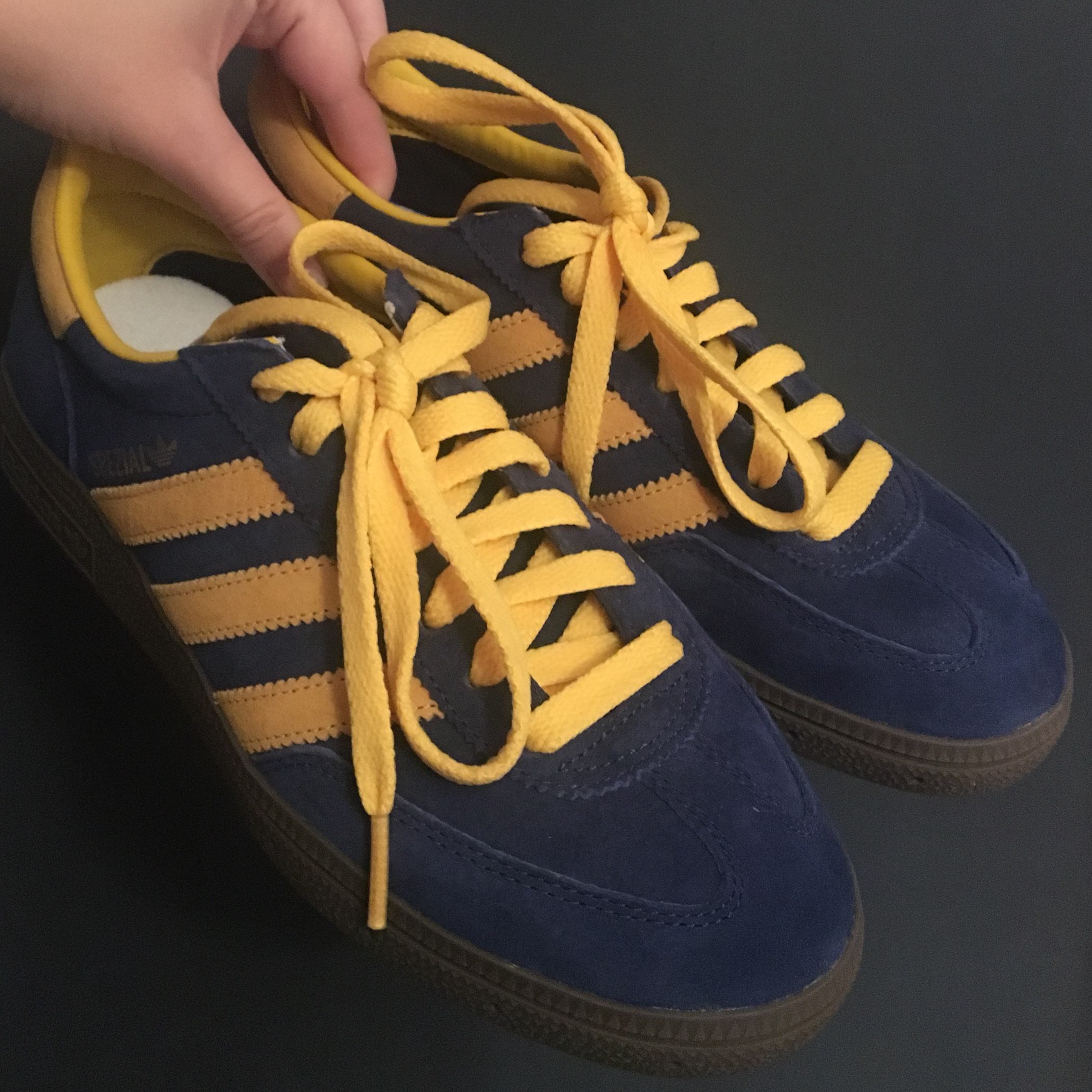 low price new photos sold worldwide Adidas Spezial, size 4. Navy blue, yellow and brown... - Depop