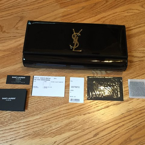 3dc7f9755b75 Saint Laurent YSL CLUTCH BAG CASSANDRE - Black Patent- NEW - - Depop