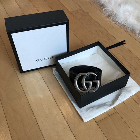 016e8d28b @julietsimms. 2 months ago. Los Angeles, United States. GUCCI Leather belt  with Double G buckle! Silver with black belt. Size 80 (32) ...