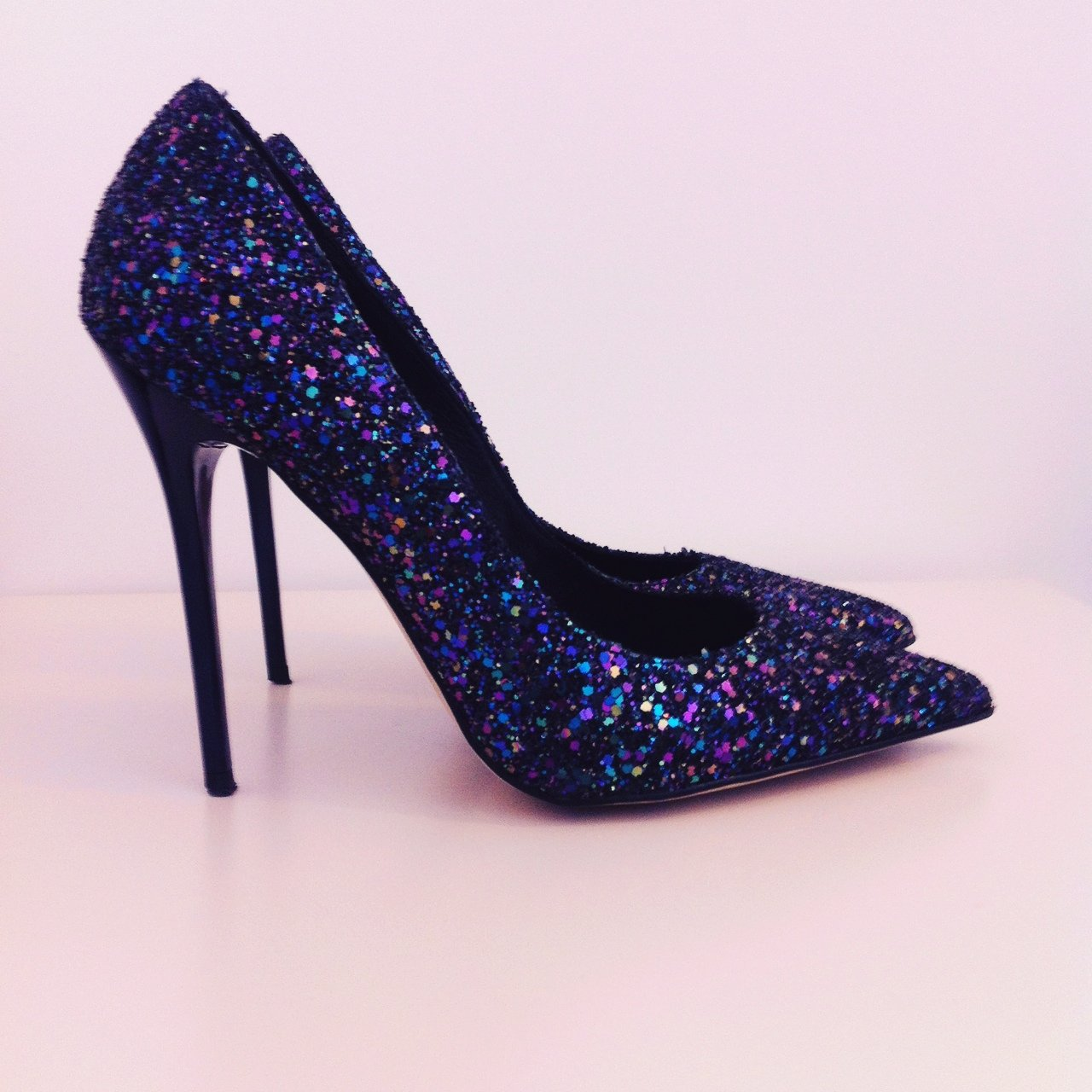 dacb7f0b2e49 shoes  glitter  stilettos  heels  pointed  pointy  blue I I - Depop