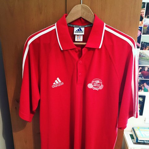 1c257dcc6 Genuine adidas Stella Artois red polo shirt size L but will - Depop