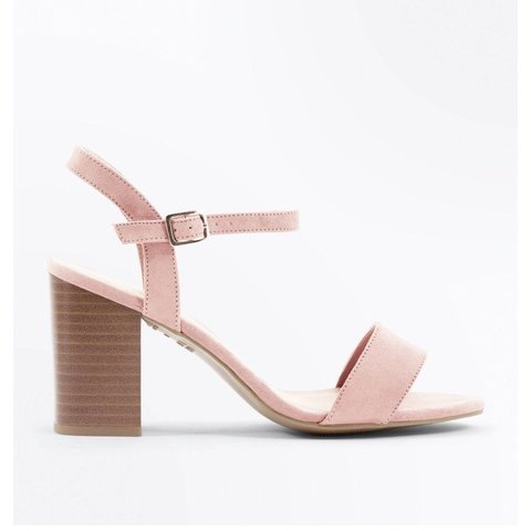 422772af330 New look Wide Fit Pink Suedette Wood Heel Sandals Size worn - Depop