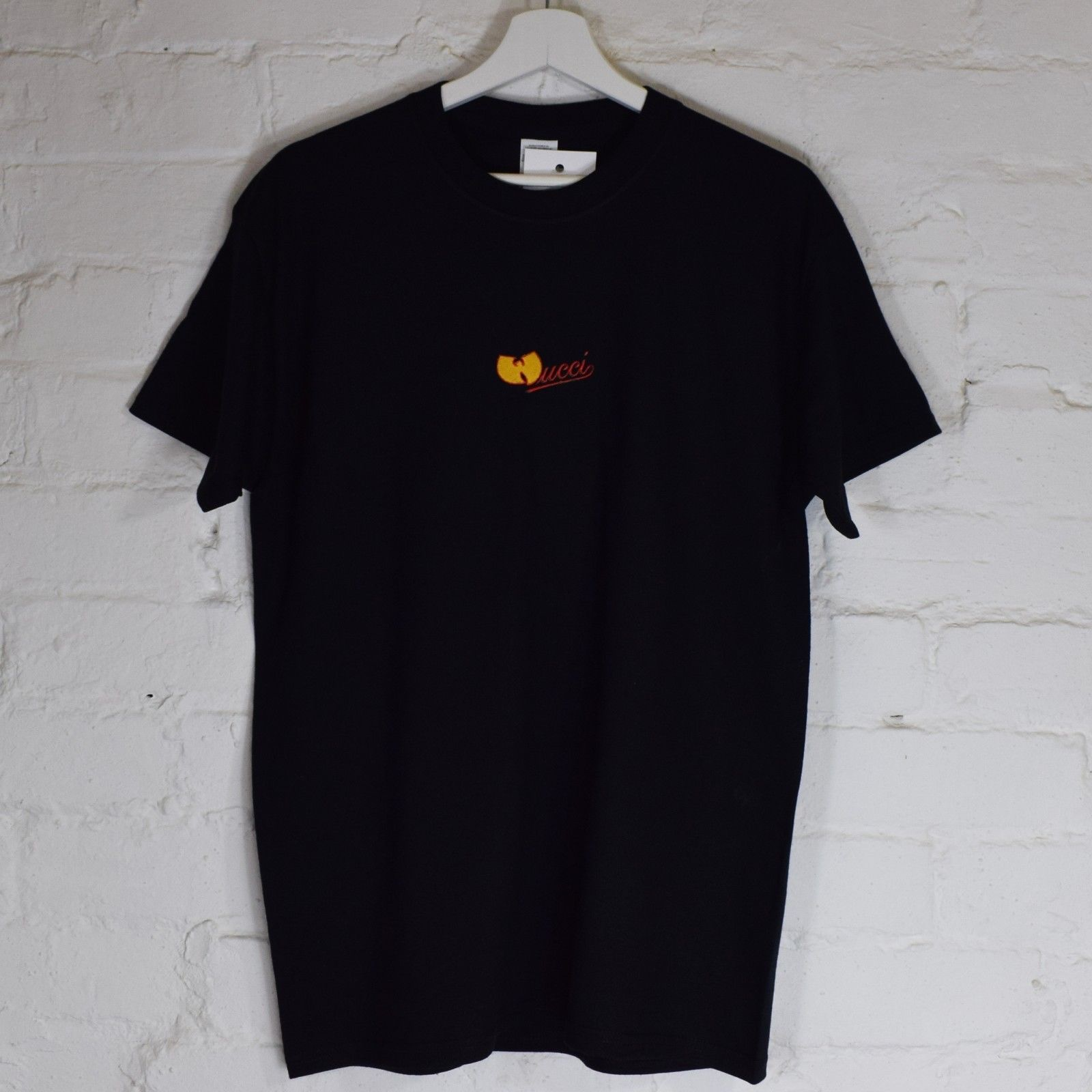 Actual Fact Wucci Embroidered Wu Tang Clan White Tee T-Shirt