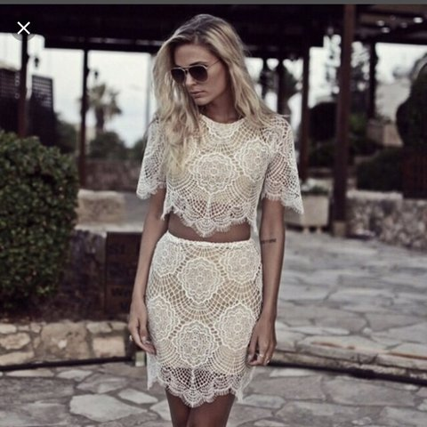 b6890afcca7c74 For love and lemons grace lace co-ord set with crop top and - Depop