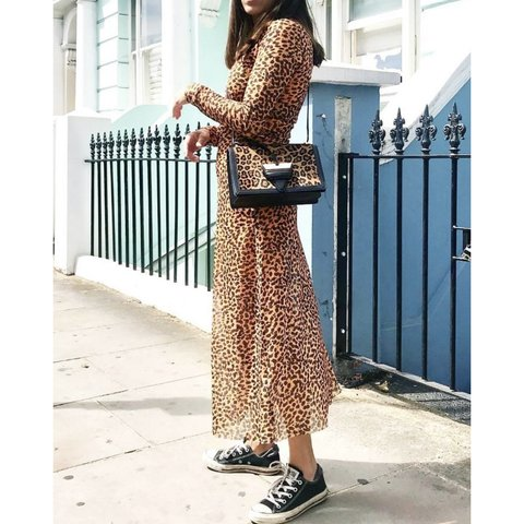 ed6af8aa1 Sheer leopard print midi dress from & other stories... - Depop