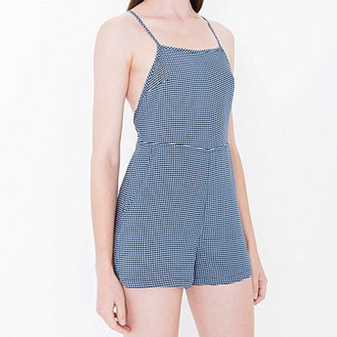 853ef99bae American apparel gingham white and blue playsuit romper with - Depop