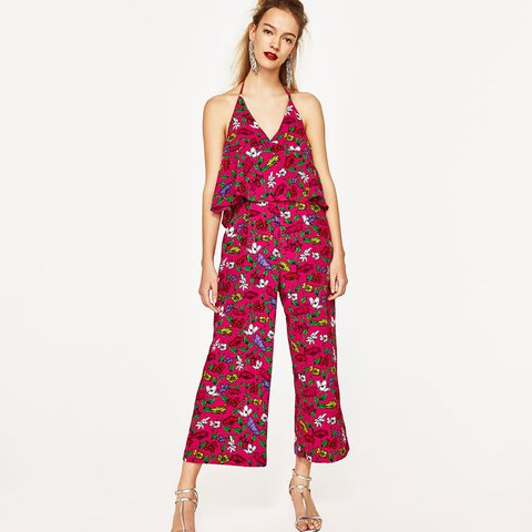 73f5ab88056e Zara pink floral jumpsuit new with tag size s. - Depop