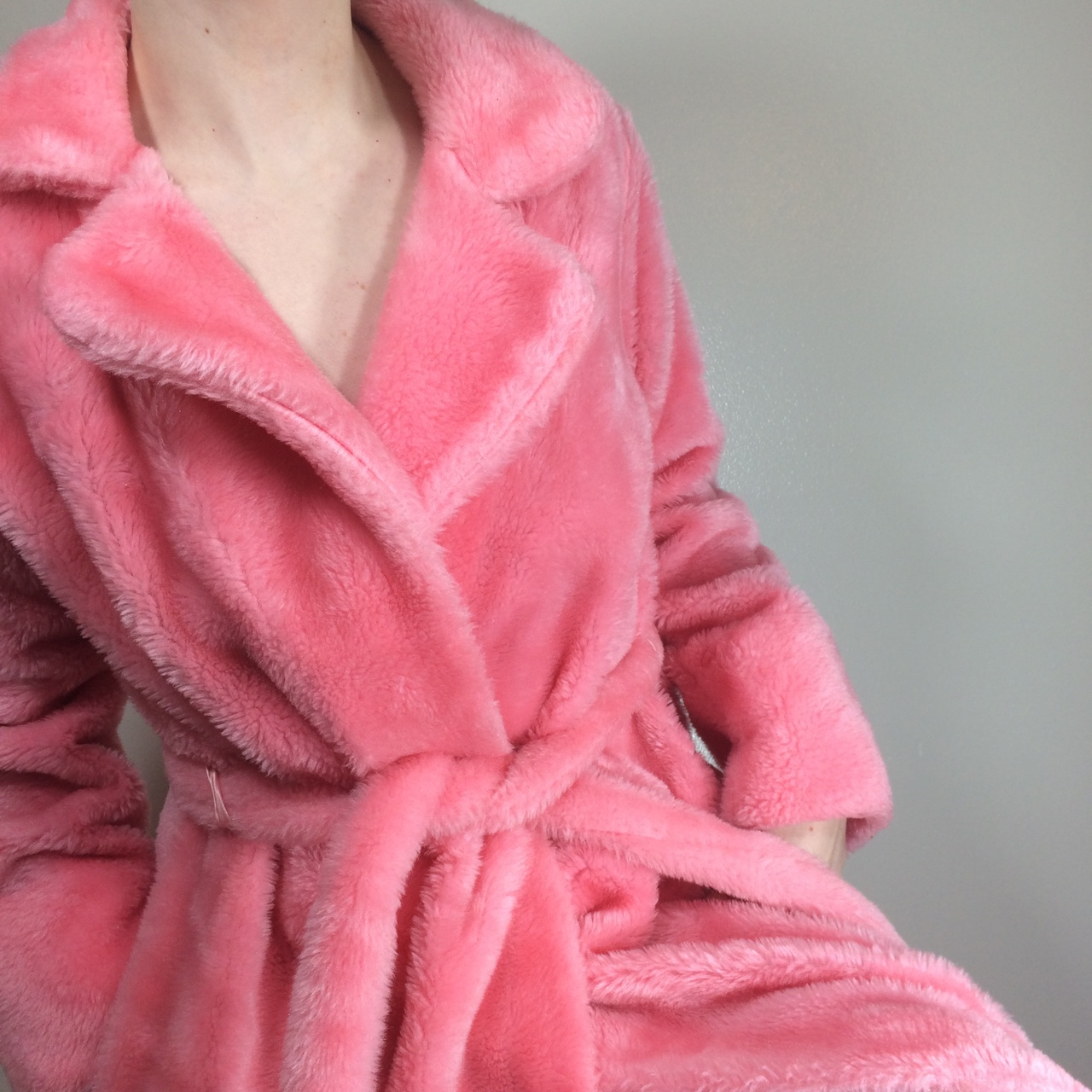 Vintage Pink Fuzzy Pile Robe With Matching Belt Depop