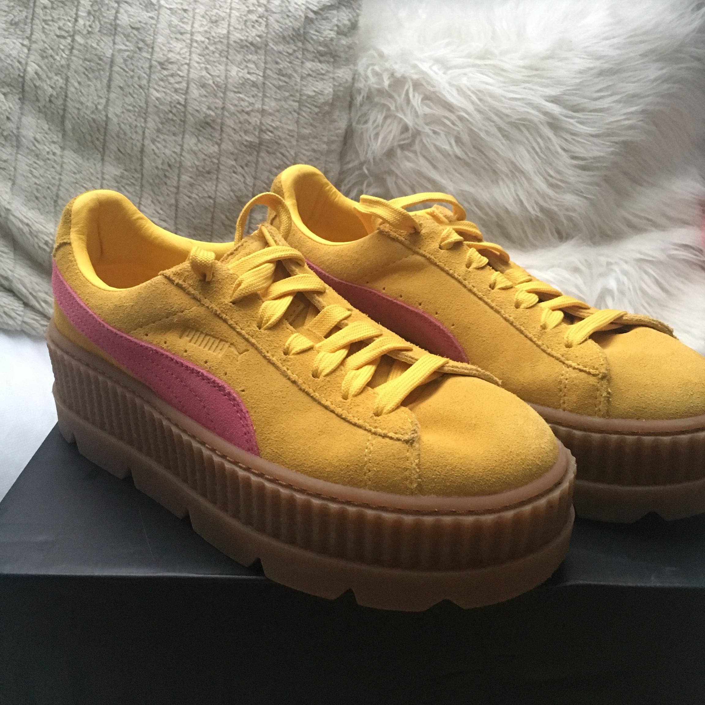 premium selection 72d82 5b9fa Yellow and pink suede Rihanna fenty puma platform... - Depop