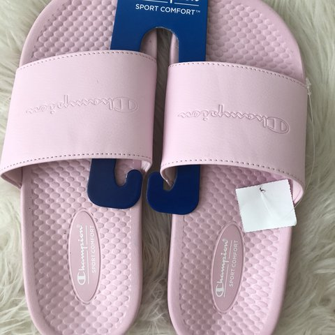 91fa7299a50b2 brand new baby pink champion slides size 7.5 and 8 in - Depop