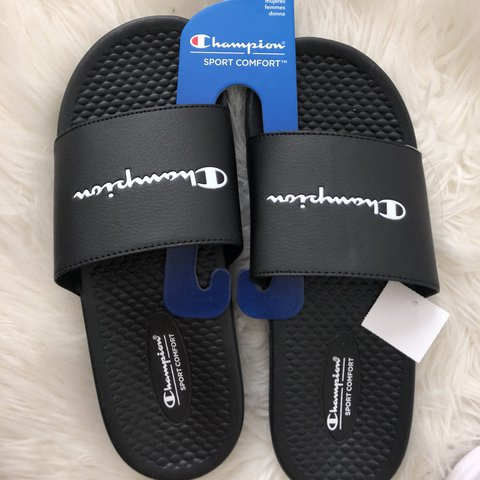 2d4f5a864c4 brand new black champion slides size 7.5 and 8 in women s - Depop