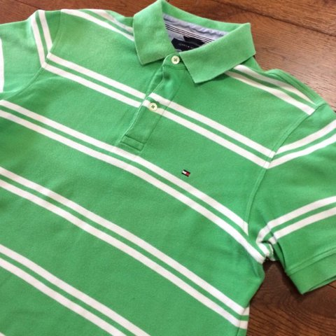 8da7b389 @cgrefte1. last month. Leeds, UK. Green/white stripe Tommy Hilfiger polo.  Size M but could fit ...