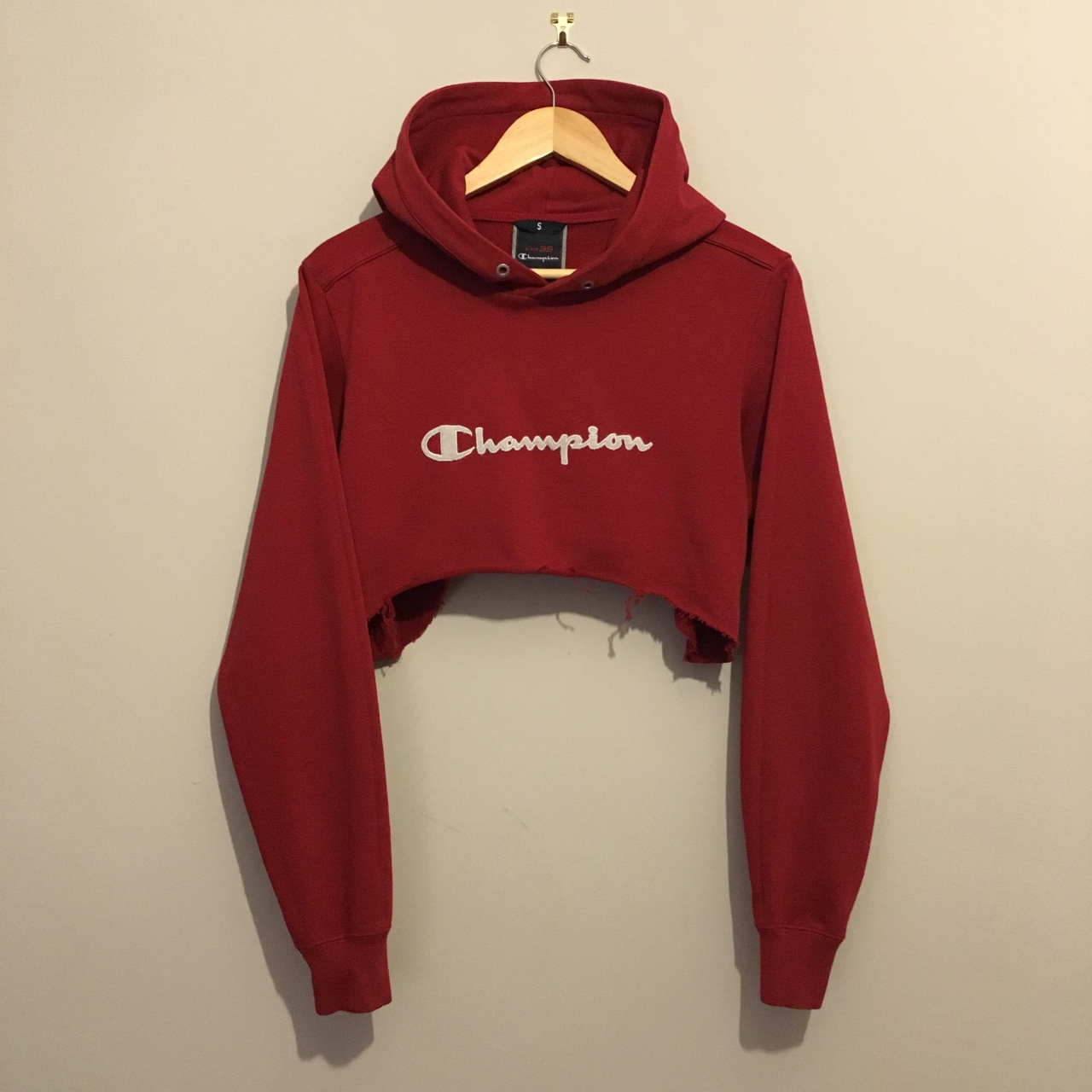 Vintage Champion Hoodie Diy Cropped Size Small