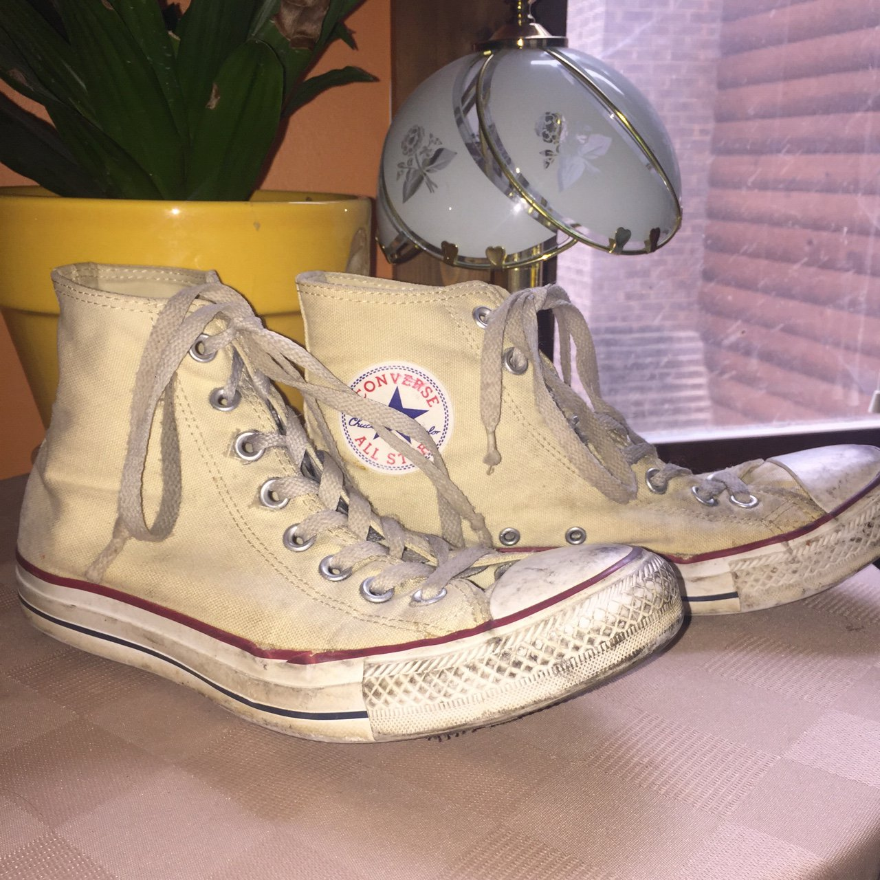 499240b60f28c2 light yellow high top converse all star! beat up shoes