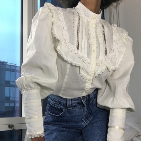 a62780761c0a @wobangs. 10 months ago. Vancouver, Canada. Vintage blouse with leg o  mutton sleeves ...