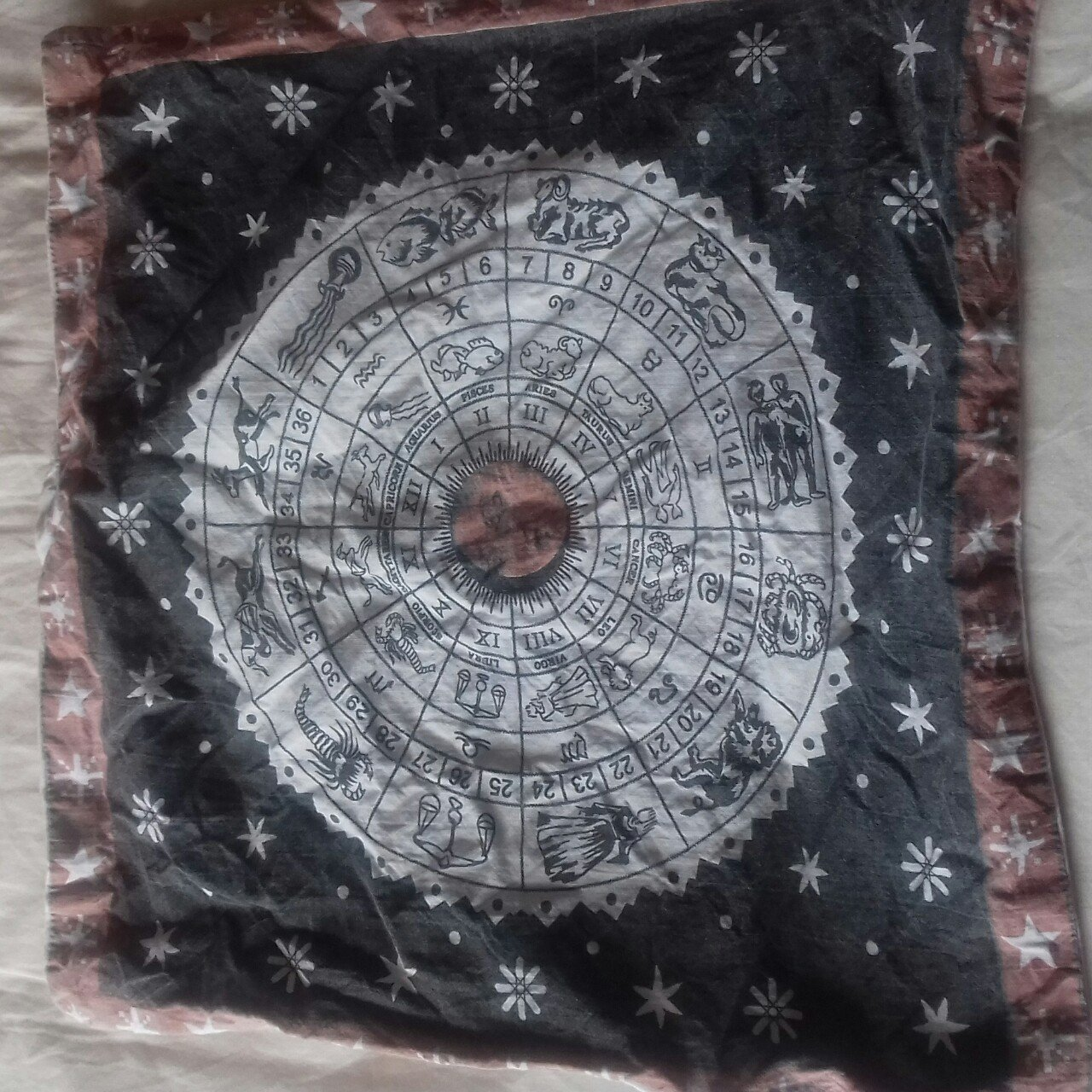 Lovely vintage square rare zodiac astrology cushion cover
