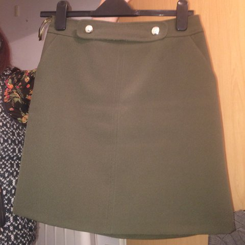 4fcd6616d Size 8 F&F mini skirt in khaki with button detail, paid £20 - Depop