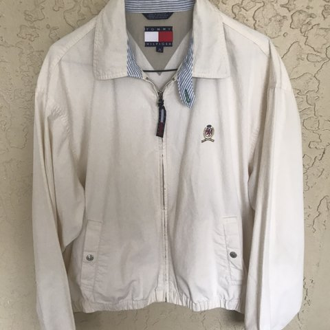 23a68fa3c002dd @jyoungg. yesterday. Spring Hill, United States. Vintage 90s Tommy Hilfiger  light tan khaki zip up bomber jacket ...