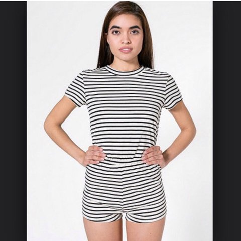 70ca86e44eb American Apparel strip t-shirt style romper playsuit size - Depop