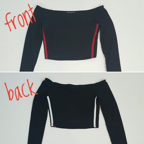 c0a72382e7149 Black crop  top with white + red racing  stripes on sides
