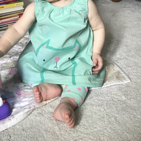 5be518d77 Next baby girls green and pink outfit, top dress with a cat - Depop