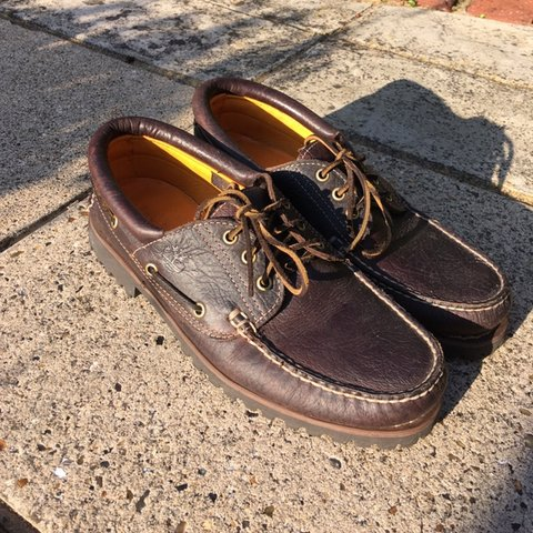 2a9bbf9c9 Size 10 Timberland classic lug boat shoes in brown. Near - Depop