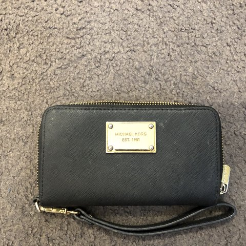 76fb159c46f5 Genuine Michael Kors wallet with wristlet. Black with gold A - Depop