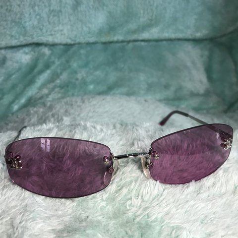 1e02b2a5410 Beautiful vintage Rimless purple lens Chanel sunglasses. So - Depop