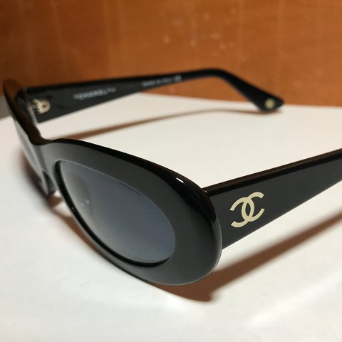 3c84c55a087 Vintage Chanel (5007) oval cat eye black sunglasses. So to a - Depop
