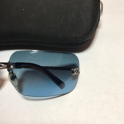 cbfcac550b Vintage Chanel light blue rectangular lens rimless Excellent - Depop