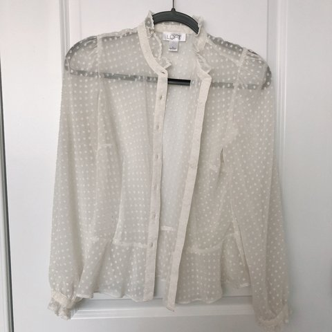 aecc05c1a @hee_kyungx3. 6 months ago. United States. Ann Taylor Loft white polka dot long  sleeved blouse with ruffles ...