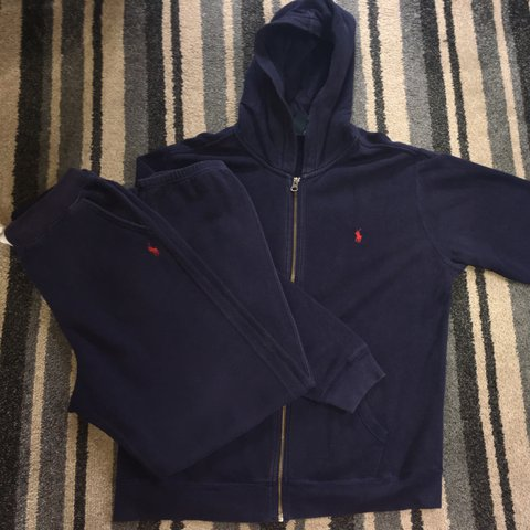 2138ea647 Ralph Lauren Slim Fit Full Navy TrackSuit XL Kids Hoodie - L - Depop