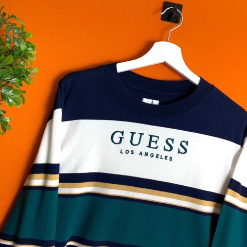 775fd9b748 @thelockupshop. 6 months ago. Huddersfield, United Kingdom. Deadstock Guess  Los Angeles Oversized Long Sleeve Striped ...