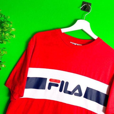 b58abaf3 Brand New Fila Spellout T Shirt Red White Blue Sizes Xs Xl Depop