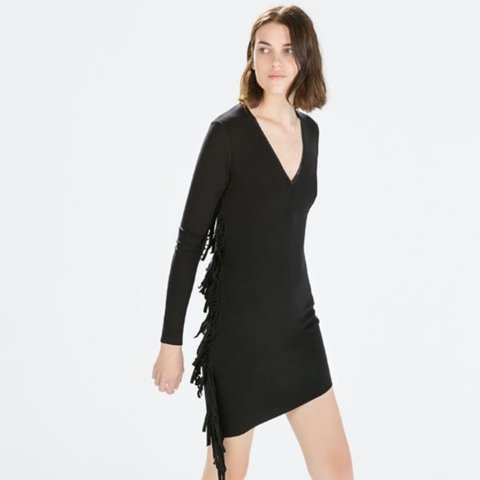 8a31bd6a0ab Zara black fringed dress for sale ladies
