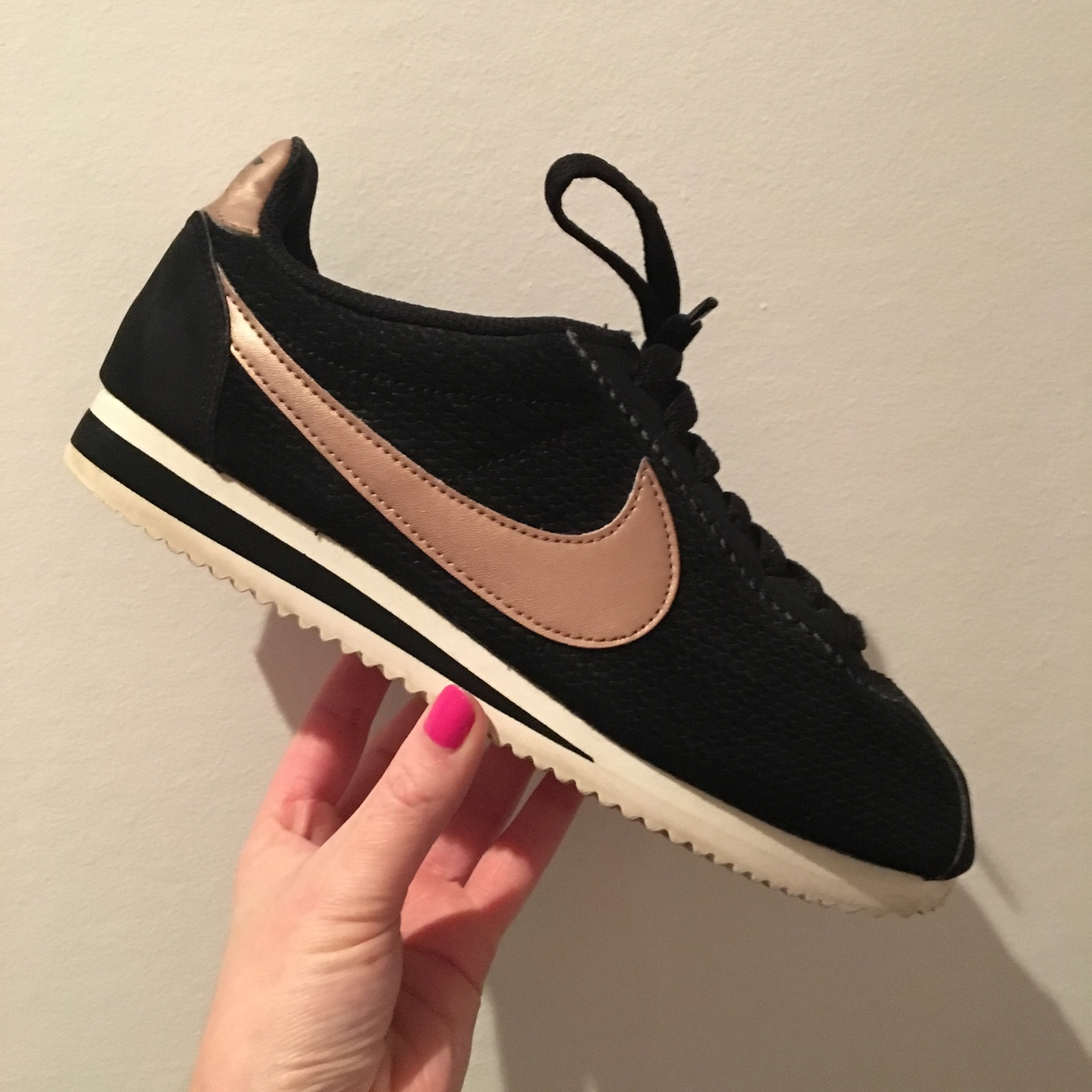 buy popular 2f243 70354 Nike Cortez Black & Rose Gold Women's Size UK... - Depop