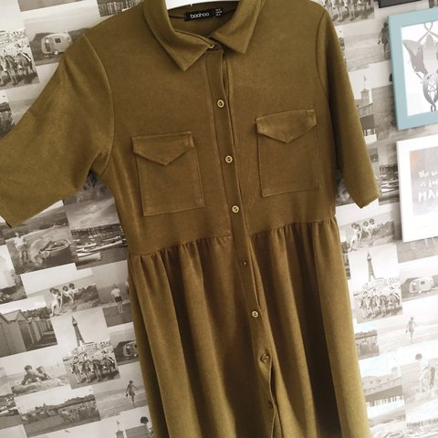 619b4bc9ce Green button up dress with pockets Size 12 Boohoo £3.50 - Depop