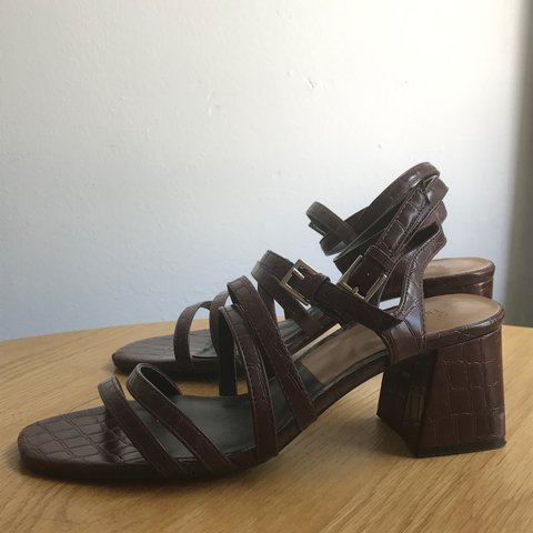10b0c2732572f3  localcreative. 2 years ago. United States. Zara faux croc strappy block  heel sandals