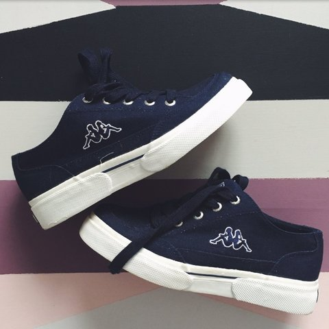 68d54ee25e Women's kappa canvas sneakers trainers dark navy blue, thick - Depop