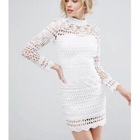 Club L Crochet Dress From Asos Uk10 Long Sleeved Crochet Depop
