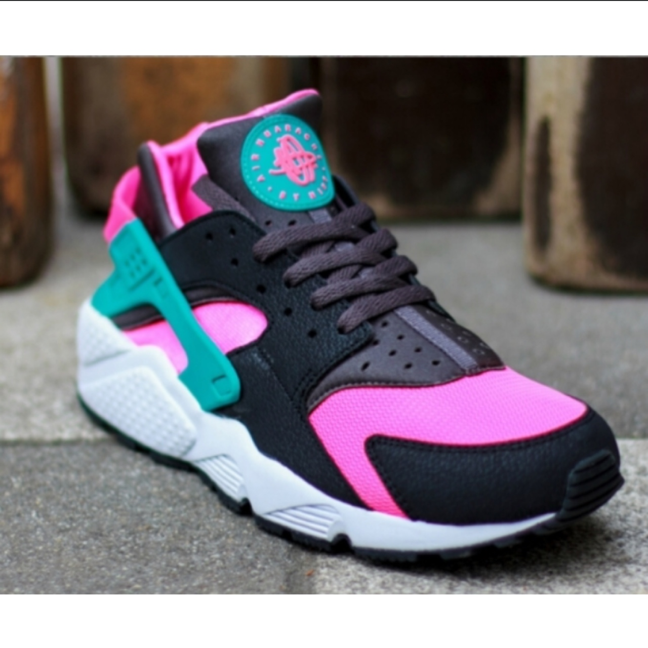pink and green huaraches
