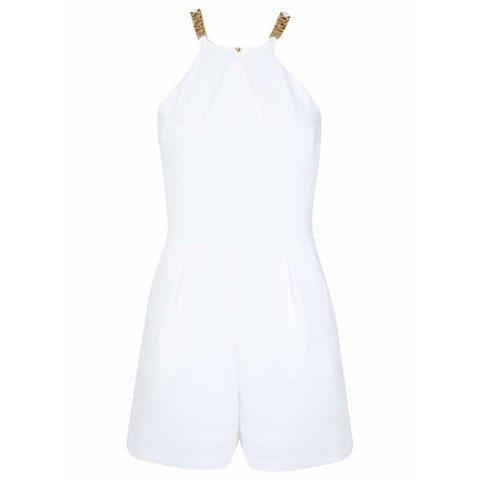 0386c464e0f6  vseager. 5 months ago. United Kingdom. WHITE MISS SELFRIDGE PLAYSUIT. GOLD  DETAIL AND ZIP SIZE 6 8