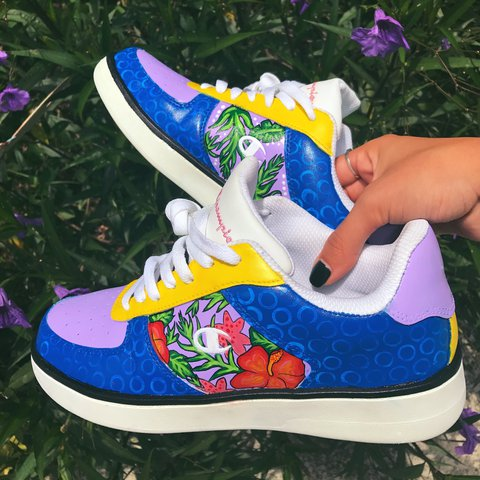8937df80c27 Hand painted floral champion shoes. Brand new never worn out - Depop