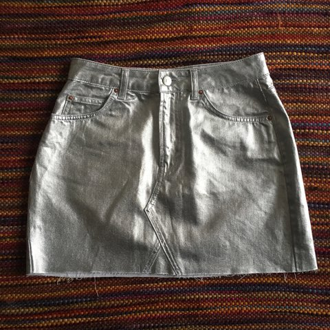 07b60e631 @natalieking96. last year. Bristol, UK. Amazing Topshop silver coated denim  mini skirt in a size 10!